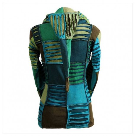 Green Tone Razor Cut Cotton Jacket
