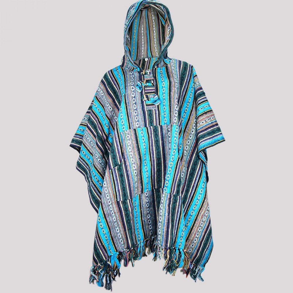 Blue Light Gheri Poncho
