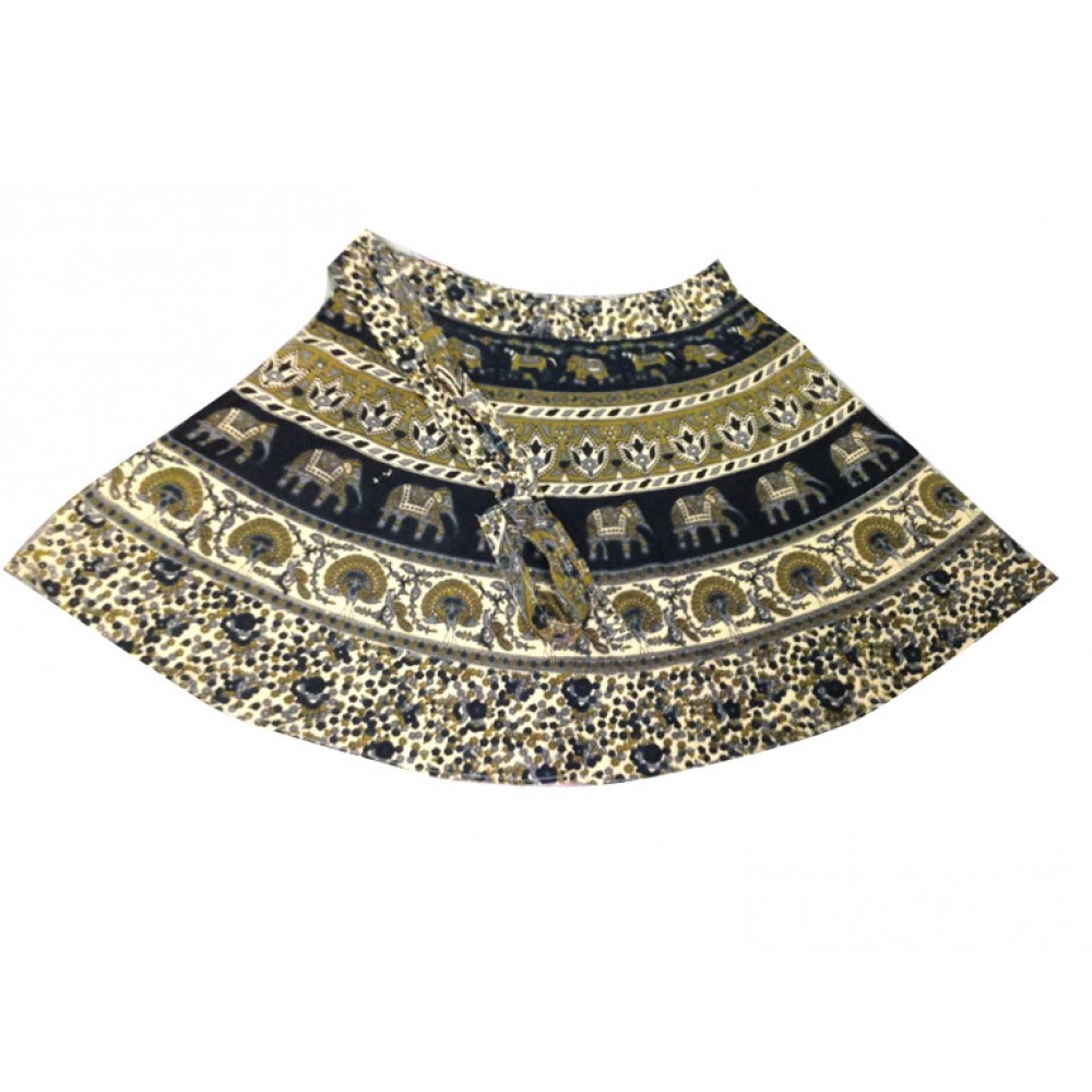 Hippie Cotton Printed Mini Woman Skirt
