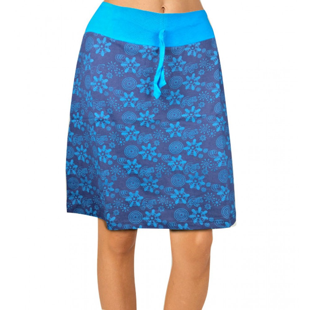 Blue Printed Cotton Skirt