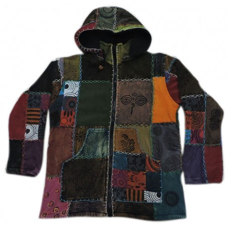Hippie Stonewashed Cotton Patch Hooded Jacket