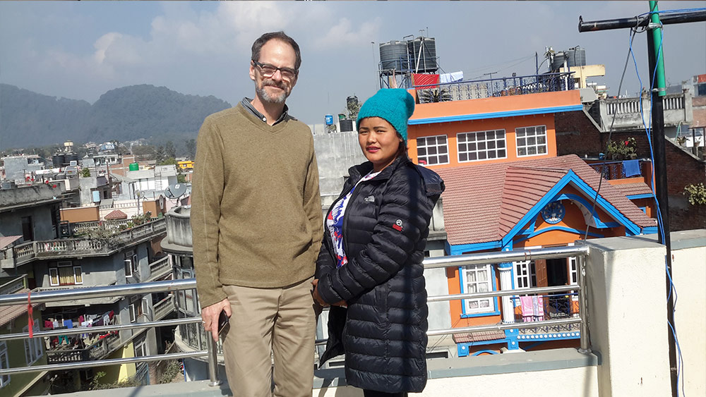 John Crump from Canada and Anitana Director of Clothing in Nepal