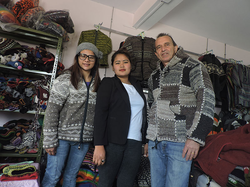 Customer from Canada in our Woolen Showroom